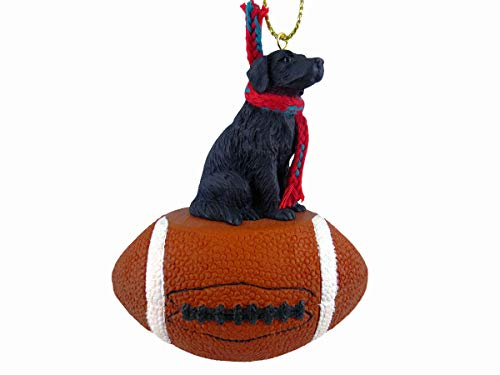 (Conversation Concepts Flat-Coated Retriever Football Christmas Ornament)