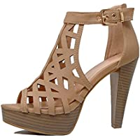 Guilty Shoes - Womens Cutout Gladiator Ankle Strap Platform Fashion High Heel Sandals Heeled Sandals, Tanv3 Pu, 7 B(M) US