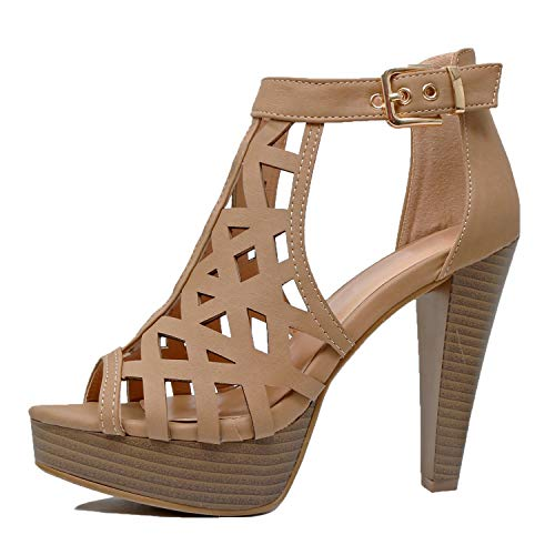 High Fashion Womens - Guilty Shoes - Womens Cutout Gladiator Ankle Strap Platform Fashion High Heel Sandals Heeled Sandals, Tanv3 Pu, 5 B(M) US