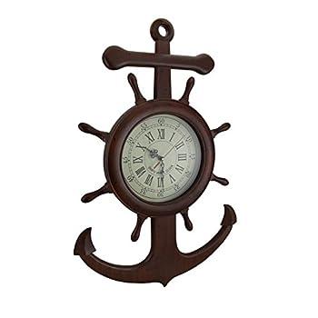 Zeckos Wooden Ship Wheel and Anchor Nautical Wall Clock