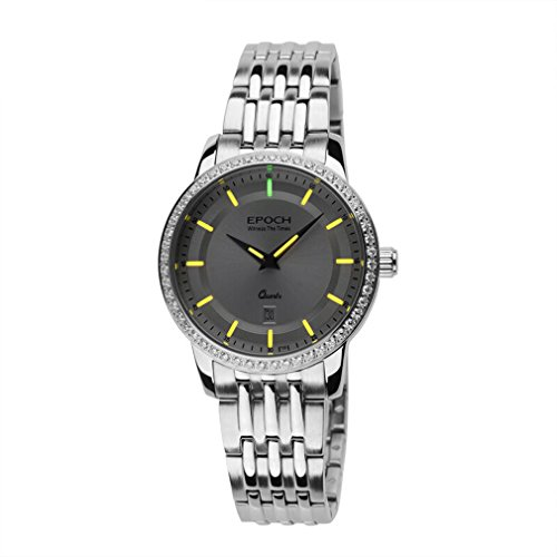 EPOCH 6023L Waterproof 50m tritium Yellow Luminous Steel Strap White dial Vogue Business Lady Women Quartz Watch Wristwatch -  EPOCH 6023L yellow steel white