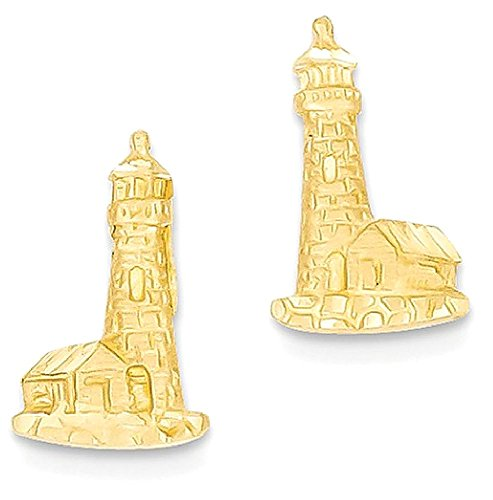 14k Yellow Gold Lighthouse Post Stud Earrings Ball Button Travel Fine Jewelry Gifts For Women For Her