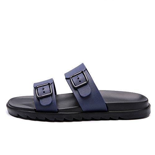 antiscivolo Style morbido Blu scarpe indossare Fondo New Traspirante uomo per Trascina da Antiscivolo spiaggia British spiaggia Casual da Due Pure Color amp;Baby Sandali Sunny da qSp706q