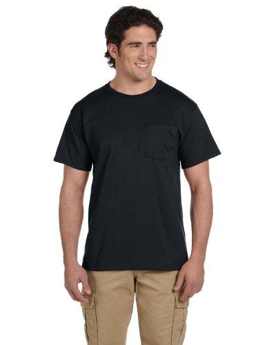Jerzees Adult Heavyweight Ribbed Crewneck Pocket T-Shirt, Black, Large. ( Pack6 )