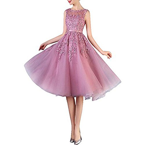 You Smile6 2017 Beaded Lace Appliques Short Prom Dresses Robe De Soiree Knee Length Party Evening Dress Pink (Dillards Robes)