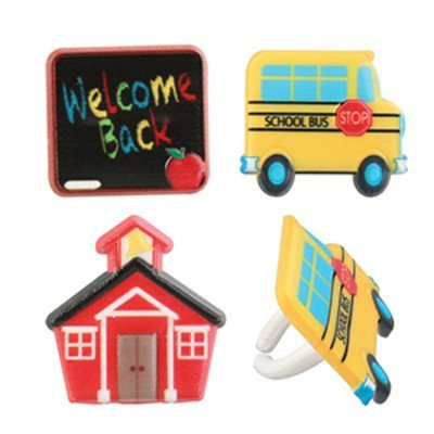Teacher Bus (Back to School Icon Cupcake Rings - 24 pcs)
