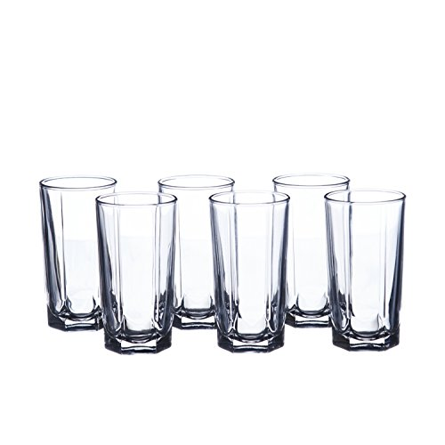 Water/Beverage 6 oz. (180 ml) Highball Glasses Set, Faceted, Durable Tempered Glass (12) (Wholesale Glasses Drinking)
