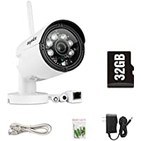 SANNCE Wireless Cameras IP 720P Bullet Camera with 32GB SD Card WIFI Wireless Security Weatherproof Camera Supports Smart Phone Remote View, D&N Vision