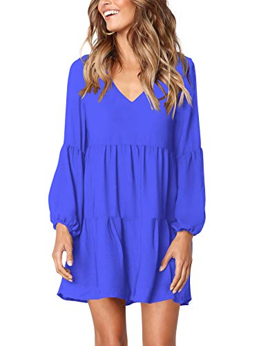 Amoretu Women's Cute V Neck Bishop Sleeves Loose Fit Tunic Dress Blue M