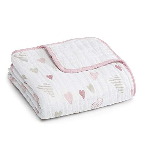 aden + anais Dream Blanket, 100% Cotton Muslin, 4 Layer lightweight and breathable, Large 47 X 47 inch, Heart Breaker