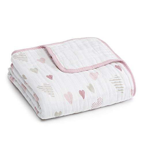 aden + anais Dream Blanket, 100% Cotton Muslin, 4 Layer lightweight and breathable, Large 47 X 47 inch, Heart Breaker (Anais Dream Muslin)