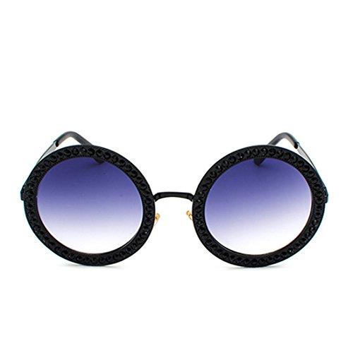 Gris cadre strass en Lens Mesdames de polycarbonate métal Noir en soleil lunettes MUCHAO rondes 7BqwnFA