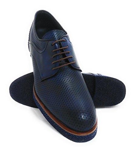 Zerimar Scarpe da Uomo con Aumentano Interni Aumenta + 7 cm Genuina Scarpe di Pelle Colore Blu Navy Taglia 42