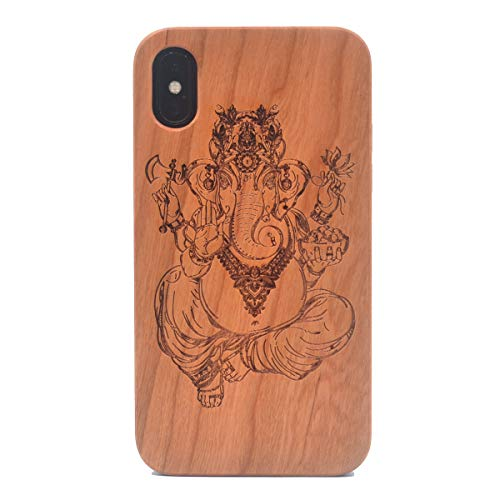 iPhone Xs Wood Case, Ganesh Ganpati Elephant Hindu God Handmade Carving Real Wood Case Wooden Case Cover with Soft TPU Back for iPhone X (2017) iPhone Xs - Carving Ganesh
