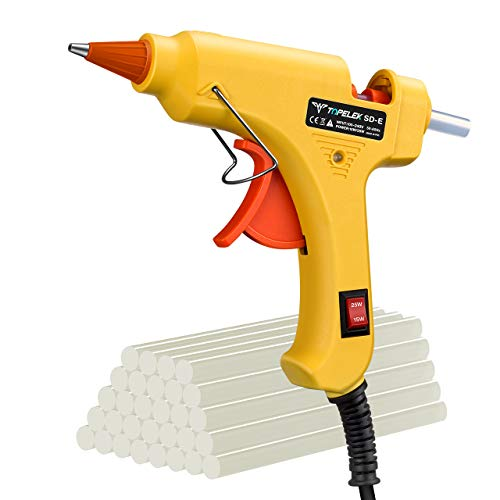 Hot Glue Gun, TopElek Upgraded 15W/25W Dual Temp Mini Glue Gun with 30pcs Glue Sticks, High Temp Melt Glue Gun, Anti-hot Cover for DIY School Craft Projects, Home Quick Repairs, Festival Decoration