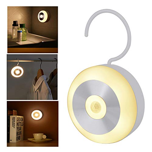 Rechargeable Motion Sensor Night Light, LED Sensor Closet Light Magnetic Stick Hanging Stair lamp for Kitchen, Stairway, Basement, Bathroom, Kids Room,Garage, Cabinet, Warm White Light