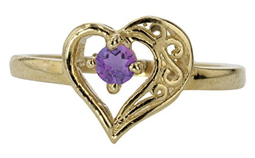 14k Yellow Gold Faceted Natural Genuine Purple Amethyst Round Filigree Heart Promise Love Band Ring Size 8