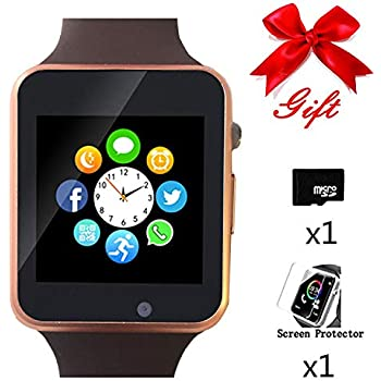 Bluetooth Smartwatch,Smart Watch Unlocked Watch Phone can Call Text Touchscreen Camera Notification Sync Android iOS(Gold)