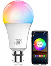 HaoDeng WiFi LED Smart Bulb - Dimmable, Multicolor, Tunable White (Color Changing Disco Ball Lamp) - 9W A19 B22(80W Equivalent), Compatible with Alexa, Google Home Assistant and IFTTT (1 Pack)