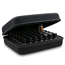 Hipiwe 42 Bottle EVA Essential Oil Carrying Case, Hard Shell Exterior Foam Insert Essential Oil Storage Box, Perfect for DoTerra and Young Living Oil with Carrying Handle (Black)
