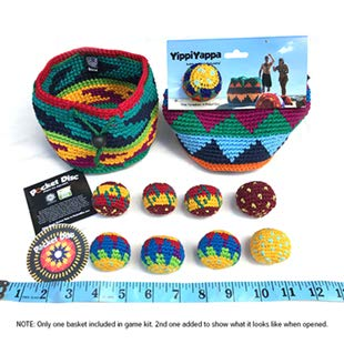 Pocket Disc Yippi Yappa Hacky Sack Game Kit - Crochet Footbag Hacky Sack Toss Games for Kids and Adults - Perfect for Camping Fun and Party Games - 8 Color Coded Mini Hacky Sack Footbags and 1 Basket