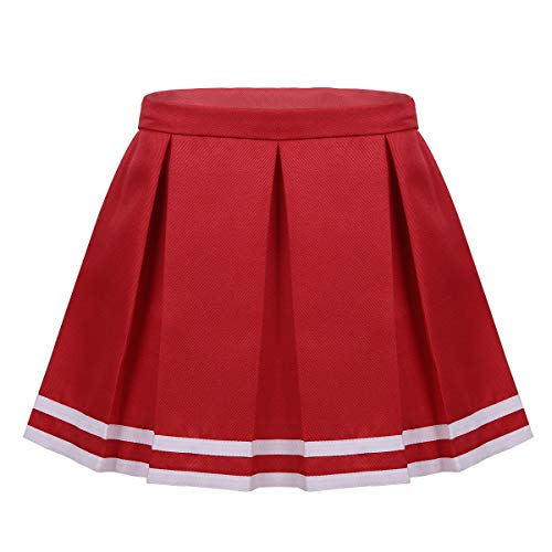 FEESHOW Child/Youth Girls Cheerleading Pleated Skirt Cheer Leader School Uniform A Line Skirt Costumes Red 7-8
