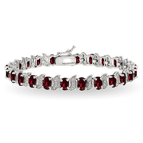 GemStar USA Sterling Silver Created Ruby 6x4mm Oval and S Tennis Bracelet with White Topaz ()