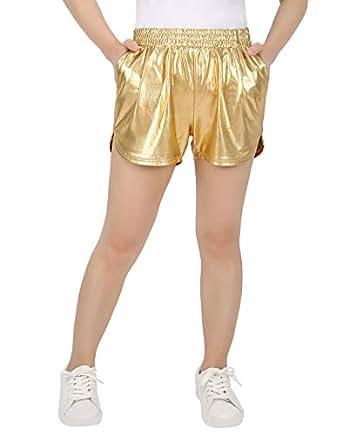 HDE Women's Hot Shorts Loose Shiny Metallic Yoga Pants (Gold, Small)
