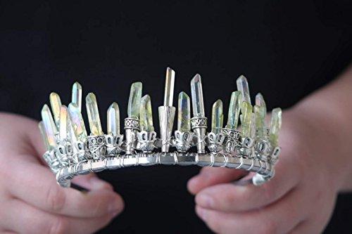 green aura quartz crystal crown, pagan, witch crystal tiara, moon goddess headpiece, cosplay headpiece, woodlands wedding, high priestess by The Queen of Quartz