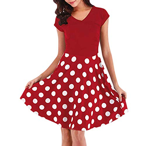 Women Aline Midi Dress Summer Casual Dot Print Cap Sleeve Deep V Neck Flowy Pleated Patchwork Short Beach Dresses (Large, Red)