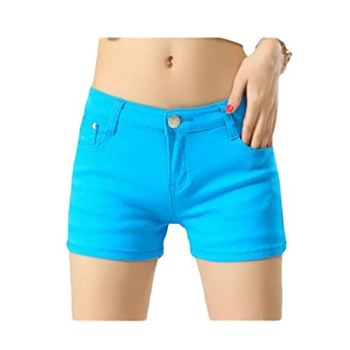 Hot Abetteric Women Short Summer Shorts Skinny Summer Leisure Mulit Color Shorts Jeans Sky Blue S hot sale