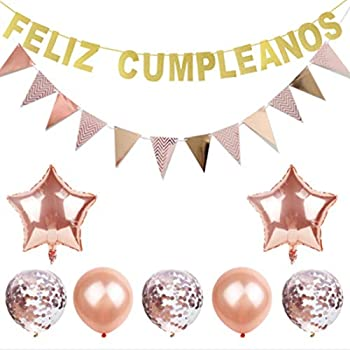Feliz Cumpleanos Decorations Set, Feliz Cumpleanos Banners Pink Balloons Kit Fits for Birthday Party Decoration (Rose Gold)