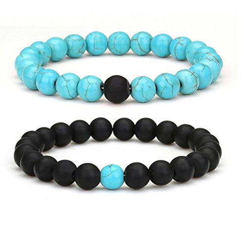 (Set of 2 Womens Mens 8mm Handmade Couples Distance Beads Bracelets Friendship Couple Jewelry Round Energy Stone Beads Gemstone Beaded for Valentine Birthday (Black Matte Agate & Blue turquoise))