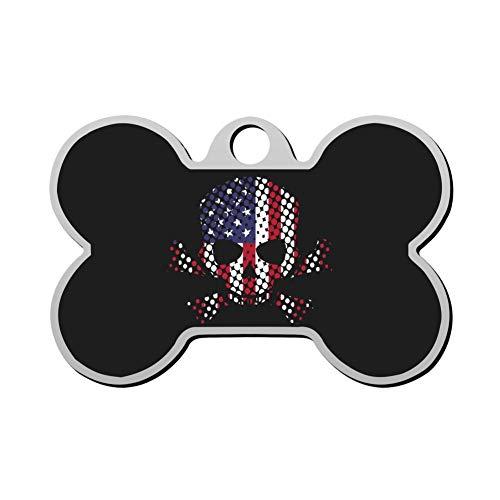 HAOPENGYOU Flag Skull American Flag Pet ID Tags Personalized Custom Print Bone Shape Dog Tags & Cat Tags
