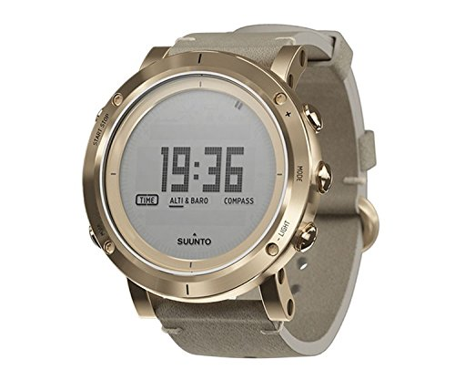 Suunto Mens Essential Gold Digital Display Quartz Watch, Ivory Leather Band, Round 49.1mm Case