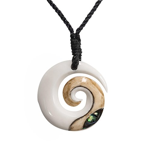 - 81stgeneration Women's Men's Hand Carved Bone Maori Koru Spiral Swirl Paua Shell Pendant Necklace