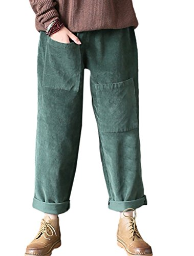 (Mordenmiss Women's Cotton Linen Embroidery Wide Leg Pants Trouser (L, Corduroy Green))