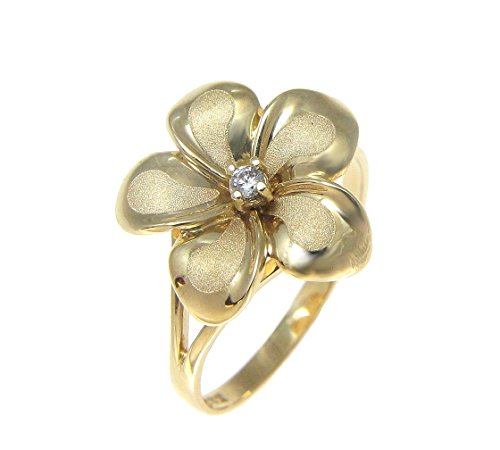 14K solid yellow gold 15mm Hawaiian single plumeria flower cz ring