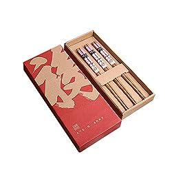 DEESEE(TM) Japanese Style Reusable Chopsticks Natural Wooden Chopsticks 3pcs Set (A)