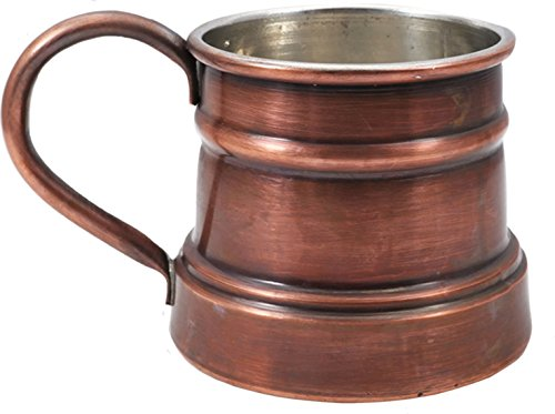 Handcrafted Tin - Handcraftideas Moscow Mule Antique Copper Barrel Mug Cup- 100% HandCrafted - Hand Made Hand Painted Pure Solid Copper Heavy Mug - 13fl. Oz. (400ml)-(CM-122)