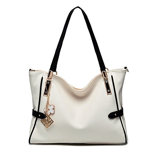 Jieway Women Casual PU Leather Classic Shoulder Bags Tote Bags Handbags (White)