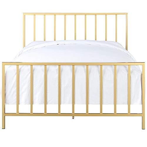 Pulaski Slat Style Metal Brushed Gold Bed, covid 19 (Brass King Complete Bed coronavirus)