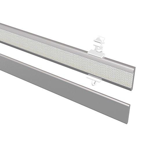 Flairdeco 16071001 0633 Paneelwagen mit Klettband und Beschwerung, 60 cm kürzbar, silbergrau aus aluminium