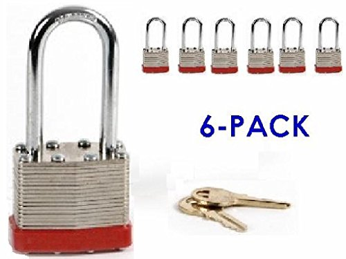 Knight Box, Padlock Box of 6, Heavy Duty 50mm Padlock With Long 5/16 Inch Thick Shackle Only In Box of 6, Long Shackle (1 7/8