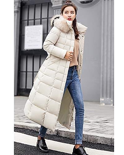 Yanlian Autunno Giubbotto Cappotto Piumino Taglie Forti Elegante Bianco Lungo Pelliccia Invernale Giacche Cappuccio Giacche Donna Inverno Giacca 1nwWcp4q1g