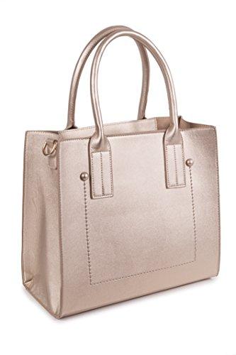 CHENSON & GORéTT Bolso polipiel con bolso interior con asa larga para bolso principal como para el interior. CG62051 color oro 33x15x30cm (L x W x H)