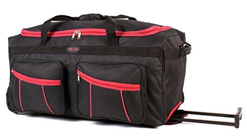 KS-100–30pulgadas Negro y Rojo Tamaño Grande con Ruedas Bolsa De Viaje Con Asa