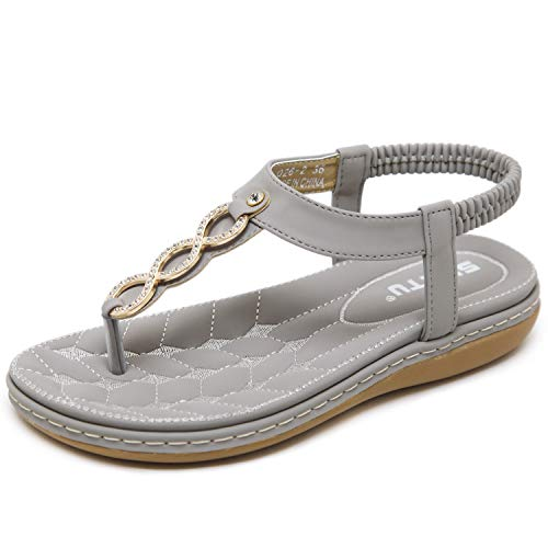 Gray Womens Ring - DolphinBanana Women's Glitter Rhinestone Tstrap Summer Simple Blingbling Gold Rings Flat Thong Sandals, Gray Flip Flops Shiny Gem Shoes for Dressy Casual Jeans Daily Wear and Beach Vacation