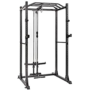 AMGYM Power Cage 1200LB Capacity with LAT Pulldown Power Rack Home Gym Equipment
