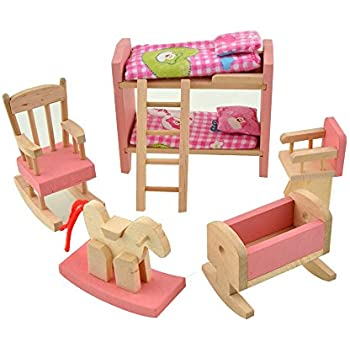 Amazoncom DreamsMall Wooden Doll House Furniture Set Toy for Baby